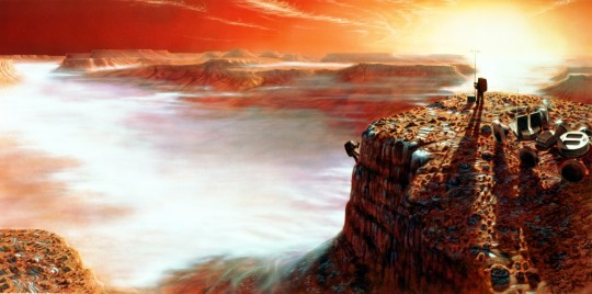 A concept drawing depicting the first humans on the surface of Mars.