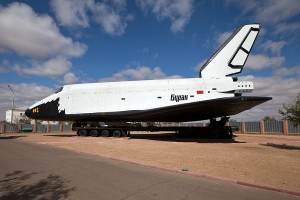 A Buran space shuttle on the ground at the Baikonur cosmodrome.