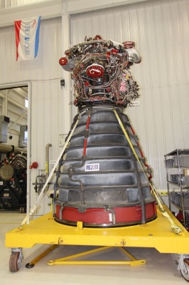 A space shuttle main engine stands alone.