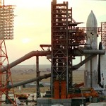 The Baikonur Cosmodrome with the Buran on the launch pad.
