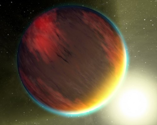 An artist's concept of what a sunset would look like on HD 209458b