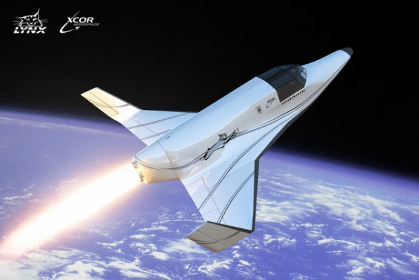 A concept image of the XCOR Lynx in orbital flight.