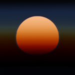 An artists concept of what a sunset would look like if one were on the exoplanet HD 189733 b