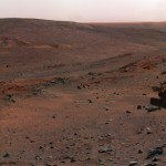 A synthetic image of a Mars rover placed inside an actual shot of Mars