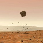 An artist's rendition of a Mars rover bouncing on the Martian Surface