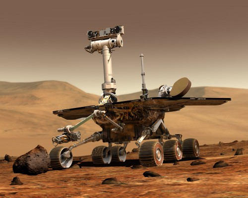 An artist's rendition of what a Mars rover would look like on the surface of Mars.