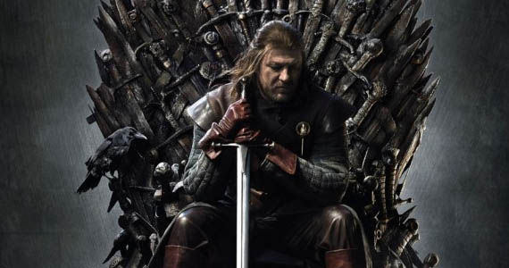 Eddard Stark seated on the Iron Throne