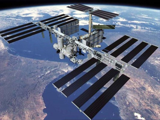 The International Space Station orbiting above Earth