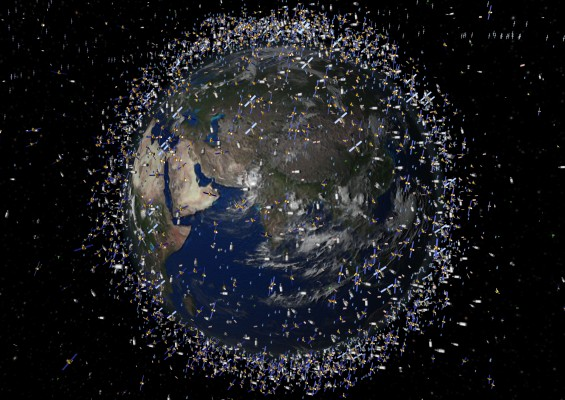 A rendering of the amount of junk orbiting space.