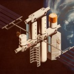 A concept image for NASA's proposed Space Operations Center space station.