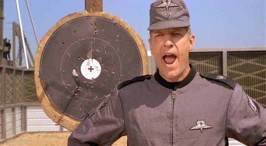 The actor Clancy Brown in the movie Starship Troopers