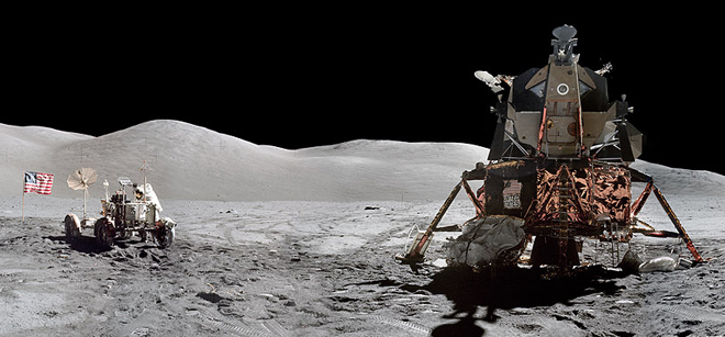 A panoramic photo taken on the moon by the Apollo 17 crew
