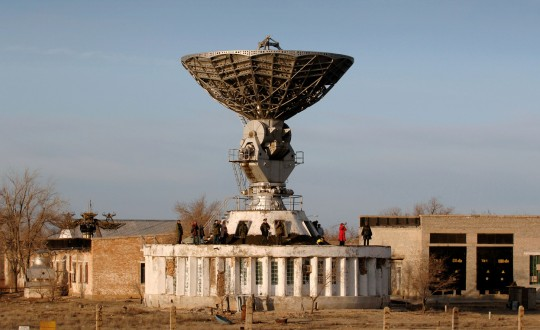 A communications dish at the Baikonur space complex.