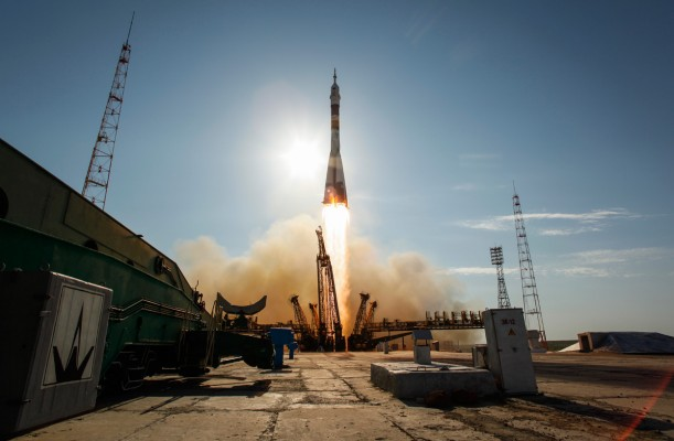 A Soyuz rocket launches at the Baikonur space complex.