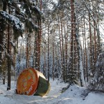 A Soyuz capsule in the snowy woods.