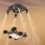 A rendering of Curiosity being lowered from its skycrane