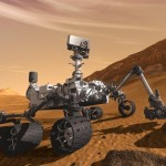 An artists rendering of the Mars Curiosity rover on the surface of Mars