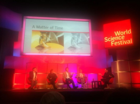 A picture of the pannel at the World Science Festival.