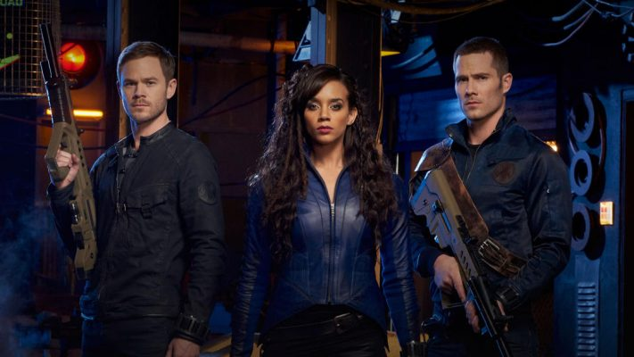 The three main characters of the Killjoys television show